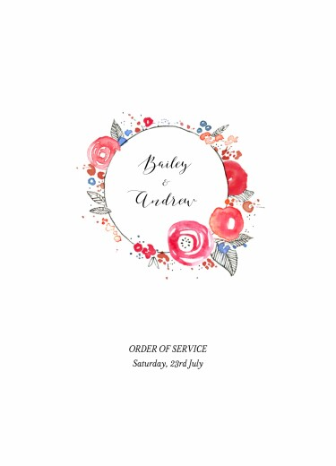 Wedding Order of Service Booklets Romance white