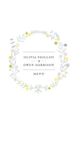 Wedding Menus Touch of floral green