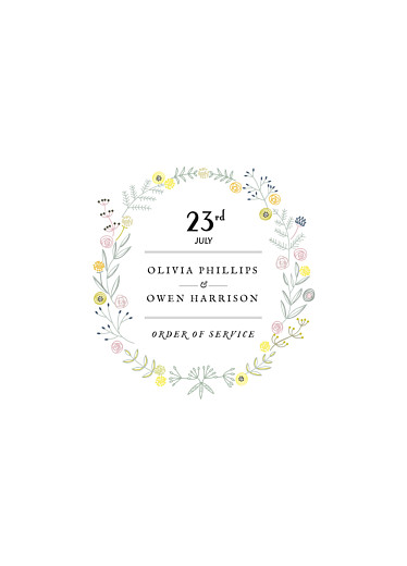 Wedding Order of Service Booklets Touch of floral white