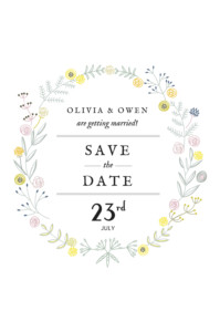 Save The Dates Touch of floral white