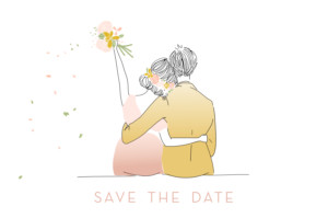Save The Dates Lovely couple pink