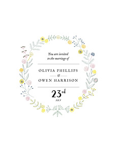 Touch of floral white wedding invitations