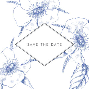 Save The Dates Engraved chic blue