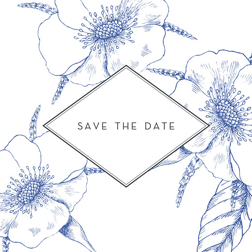 Save The Date Cards Engraved chic blue