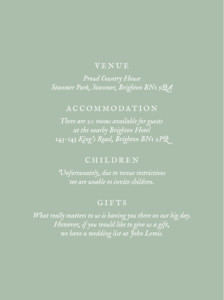 Guest Information Cards Touch of floral green