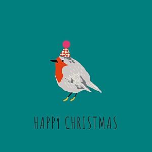Christmas Cards Little winter sparrow green