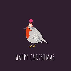 Christmas Cards Little winter sparrow purple