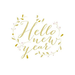 Hello new year yellow yellow christmas cards