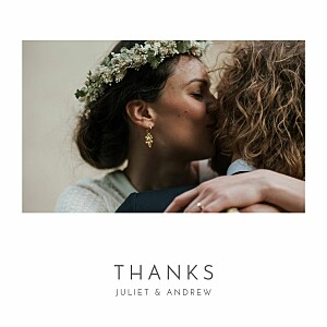 Foil heart white wedding thank you cards
