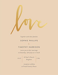 Love letters (foil) pink orange wedding invitations