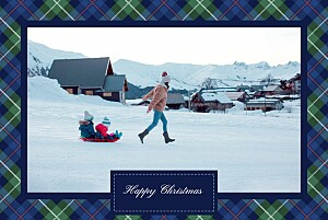 Christmas Cards Tartan trim blue & green