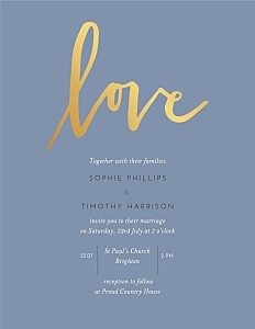 Love letters (foil) blue modern wedding invitations