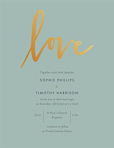 Love letters (foil) green green wedding invitations