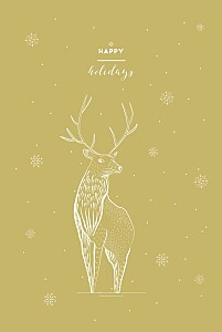 Holiday stag gold yellow christmas cards