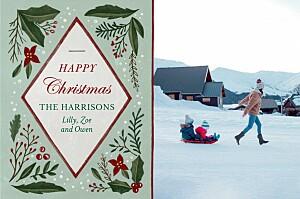 Retro christmas blue & green green christmas cards
