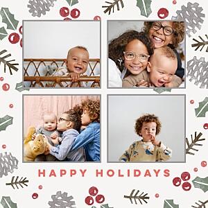 Christmas Cards Holly & pine cream