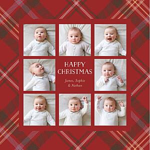 Tartan tidings red christmas cards