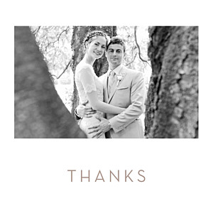 Simple photo white wedding thank you cards