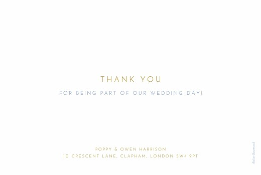 Wedding Thank You Cards Simple photo landscape blue & yellow