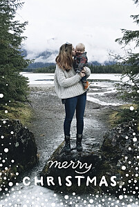 Holiday flurries blue christmas cards
