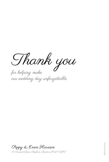 Wedding Thank You Cards Memory portrait white