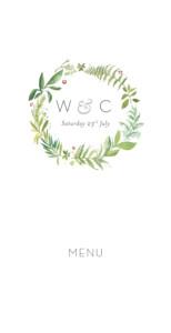 Wedding Menus Forest whisper green