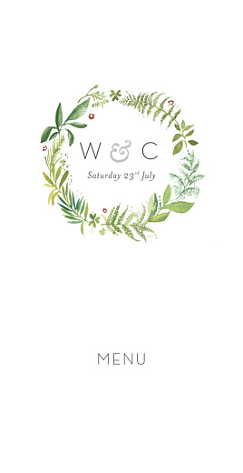 Wedding Menus Forest whisper green