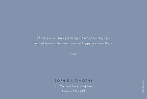 Wedding Thank You Cards Love letters (foil) blue