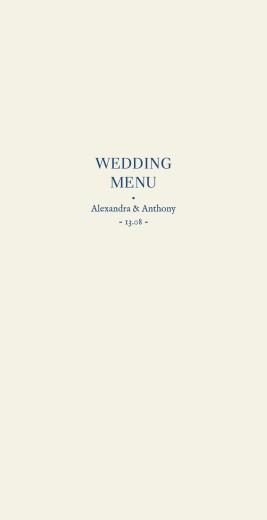 Wedding Menus Natural chic (foil) blue