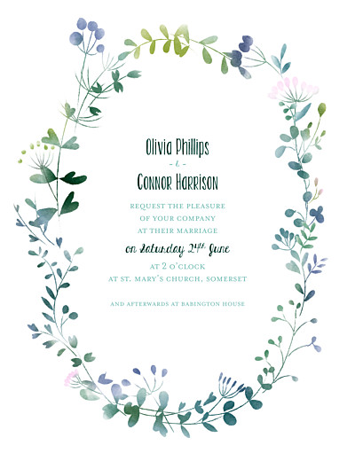 Wedding Invitations Watercolour meadow pink finition