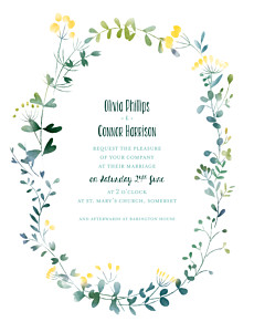 White watercolour meadow yellow wedding invitations
