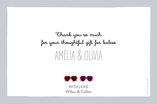 Baby Thank You Cards Sweetheart (twins) red & pink - Page 2