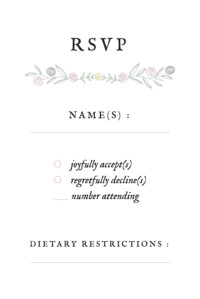 RSVP Cards Touch of floral (small) white