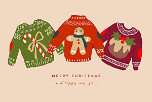 Christmas jumper pink orange christmas cards