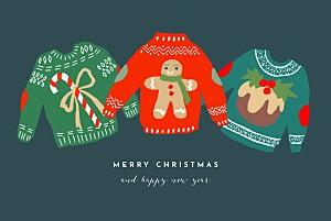 Christmas jumper blue black christmas cards