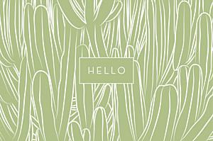 Notecards Hello cactus green