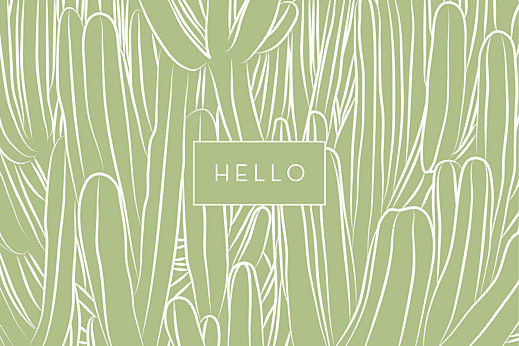 Notecards Hello cactus green
