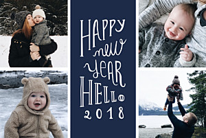 Christmas Cards Welcome new year navy blue