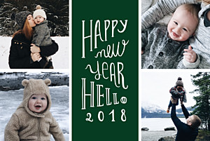 Welcome new year green black christmas cards