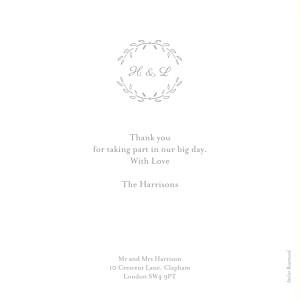 Poem photo grey grey wedding thank you cards
