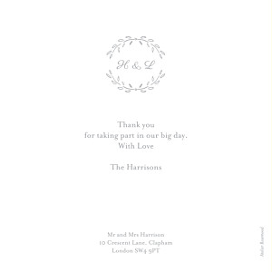 Poem photo grey grey wedding thank you cards