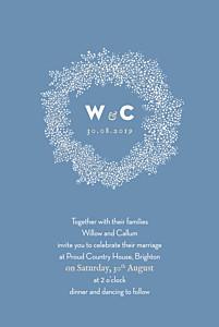Baby's breath blue beige wedding invitations