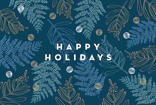 Christmas Cards Festive ferns 3 photos blue