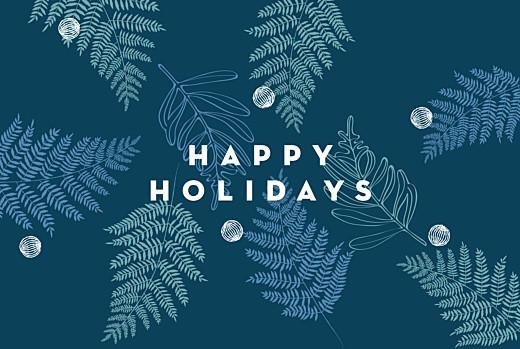 Christmas Cards Festive ferns 3 photos (foil) blue