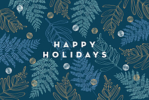Festive ferns blue tomoë  christmas cards