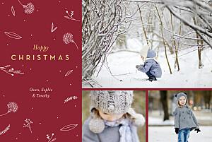 Christmas Cards Festive foliage 3 photos red