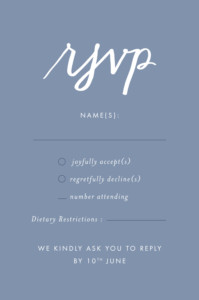 RSVP Cards Love letters blue