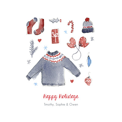 Christmas Cards Warmest wishes red blue finition