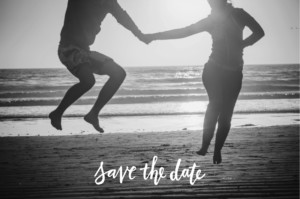 Save The Dates Love letters blue