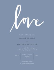 Wedding Invitations Love letters blue